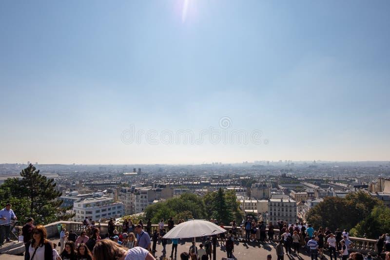 The Basilique du Sacre Coeur de Montmartre view in Paris, France. The Basilique du Sacre Coeur de Montmartre in Paris, France royalty free stock photos