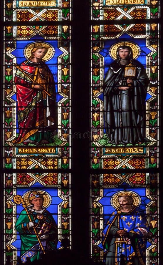Basilique en verre souillé de cathédrale de Santa Croce - Florence images stock