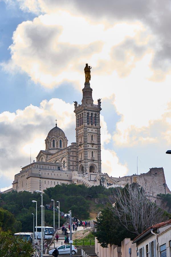 Basilique notre-κυρία-de-Λα-Garde, Μασσαλία Γαλλία στοκ εικόνα με δικαίωμα ελεύθερης χρήσης