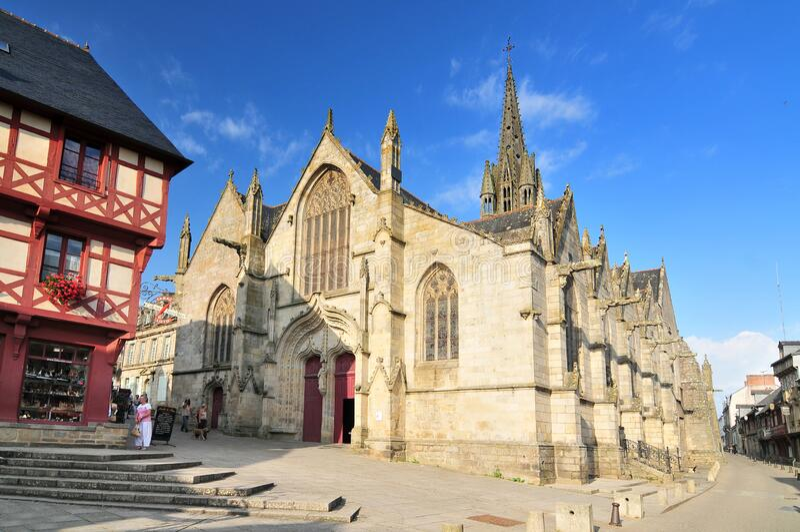 Basilique Notre Dame du Roncier in Josselin. Bretagne France.  royalty free stock photography