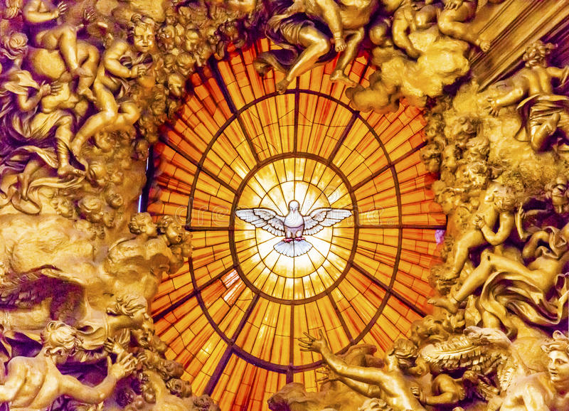 Basilique Vatican Rome I du ` s de St Peter de Saint-Esprit de Bernini de trône images libres de droits