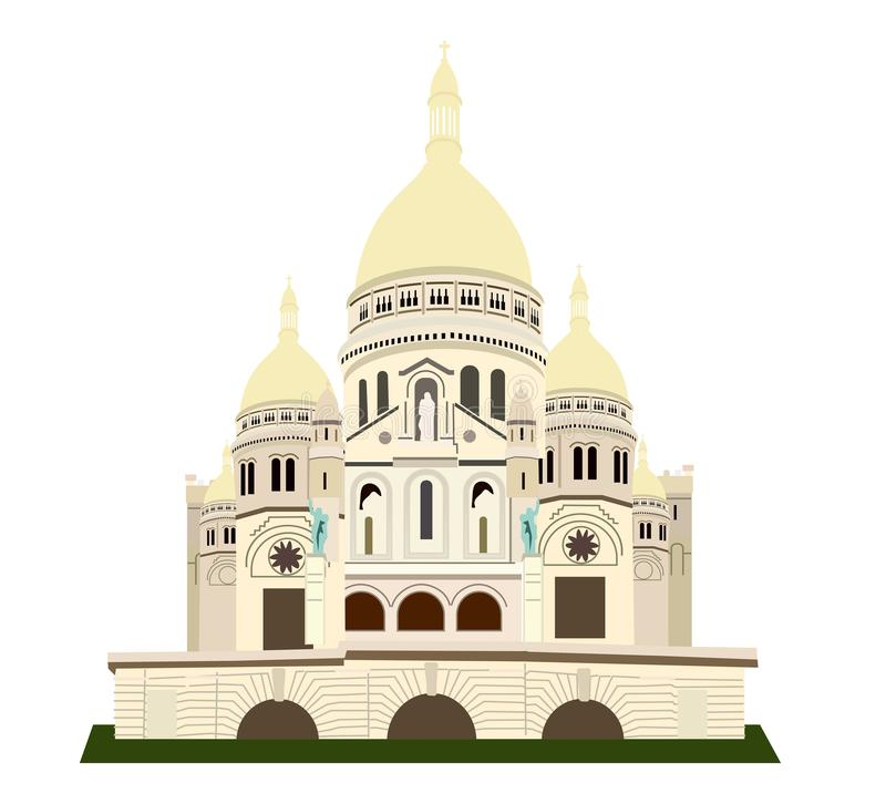 Basiliquen de Sacre Coeur europeisk landmark stock illustrationer