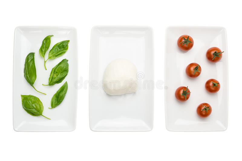 basilu chorągwianej karmowej włoskiej mozzarelli pomidorowy biel obrazy royalty free