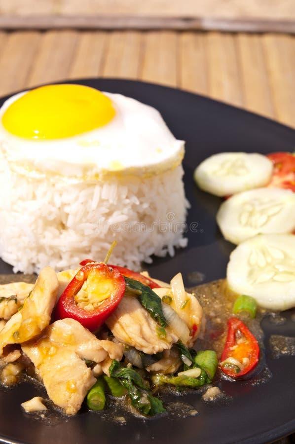 basilu kurczaka jajka kai kaprao ryż fotografia royalty free