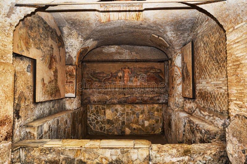 The basin of the frigidarium inside the Seven Wise Men`s spas in Ancient Ostia - Rome stock photos