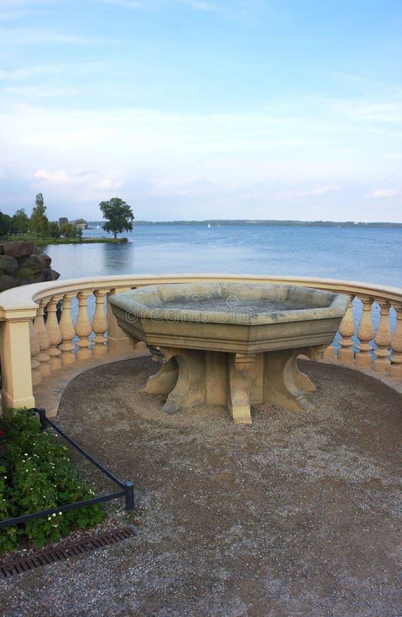 Basin at lake - II - Castle Schwerin - royalty free stock photo
