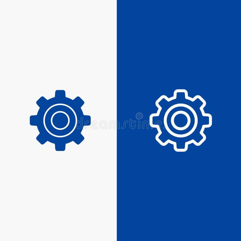Basis, Algemeen, Toestel, Wiellijn en Lijn van de het pictogram Blauwe banner van Glyph de Stevige en Stevige het pictogram Blauw royalty-vrije illustratie