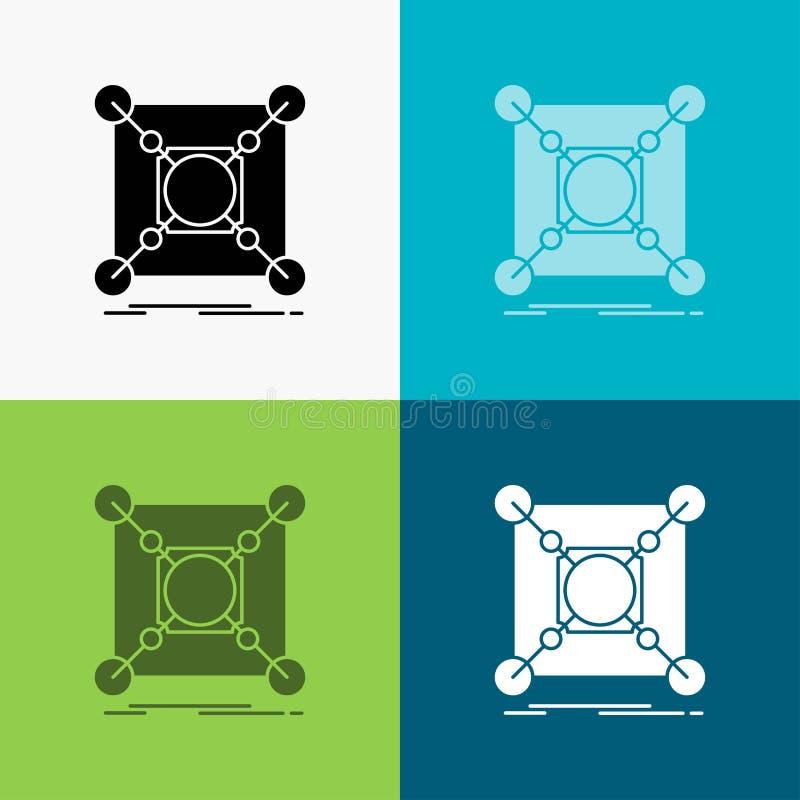Basis, centrum, verbinding, gegevens, hubpictogram over Diverse Achtergrond glyph stijlontwerp, voor Web dat en app wordt ontworp vector illustratie