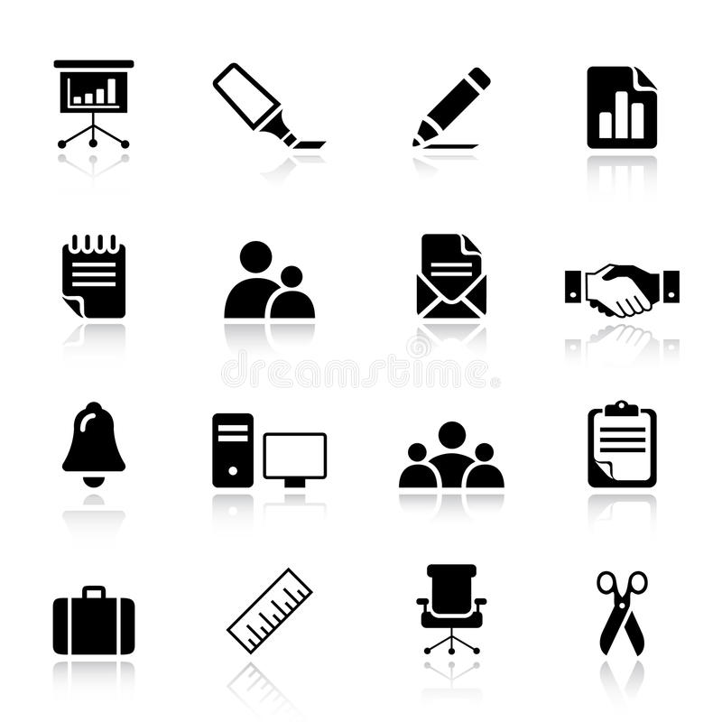 Basis - de Bedrijfspictogrammen van het Bureau en royalty-vrije illustratie
