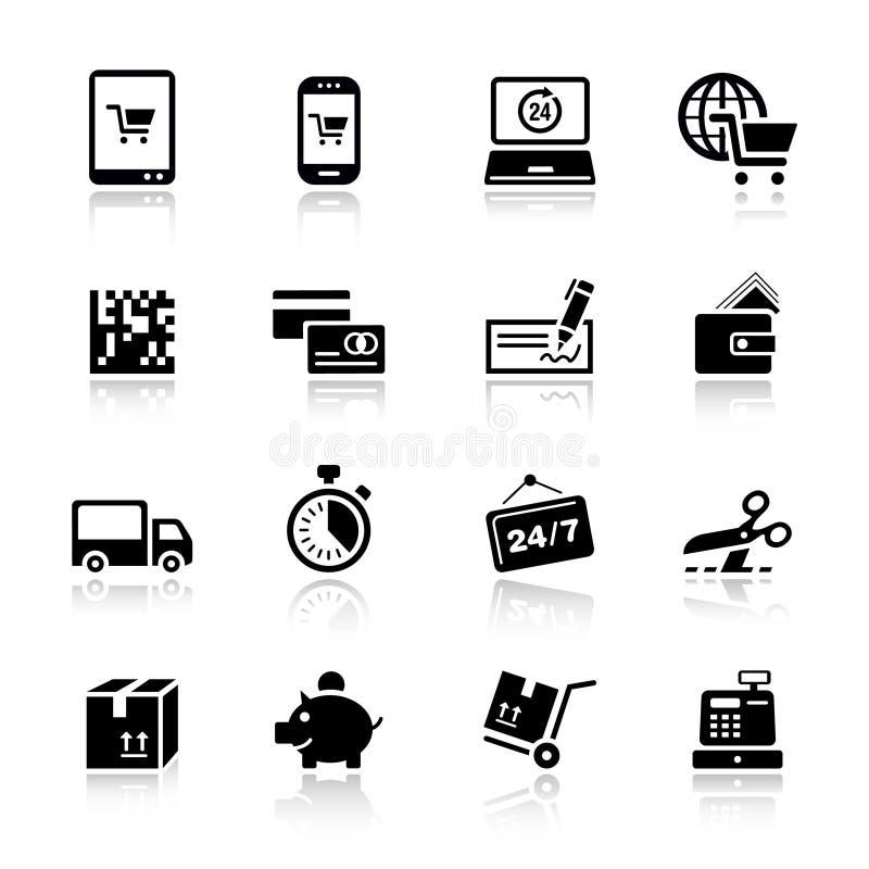 Basis - het Winkelen pictogrammen stock illustratie
