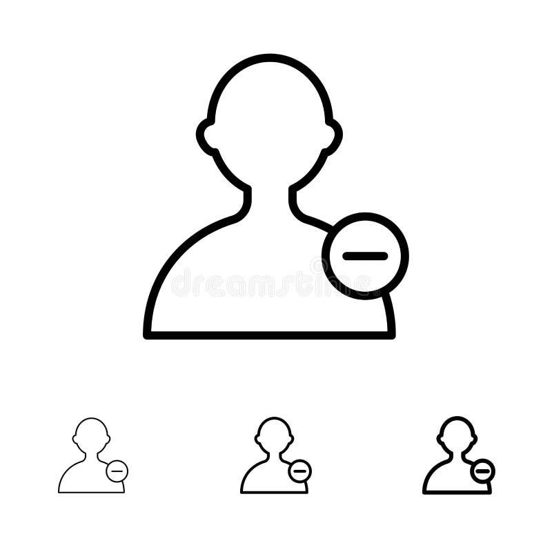 Basis, Interface, het pictogramreeks van de Gebruikers Gewaagde en dunne zwarte lijn royalty-vrije illustratie
