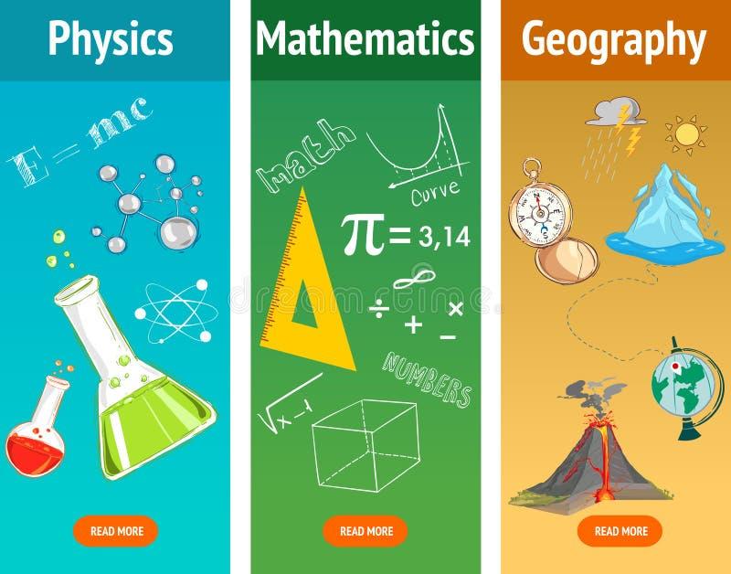 Basis math Fysicaonderwerp Aardrijkskundewetenschap De onderwerpen van de school royalty-vrije illustratie