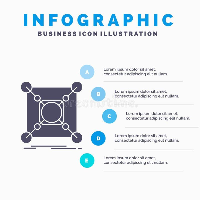 Basis, Mitte, Verbindung, Daten, Nabe Infographics-Schablone f?r Website und Darstellung Graue Ikone des GLyph mit blauem infogra lizenzfreie abbildung