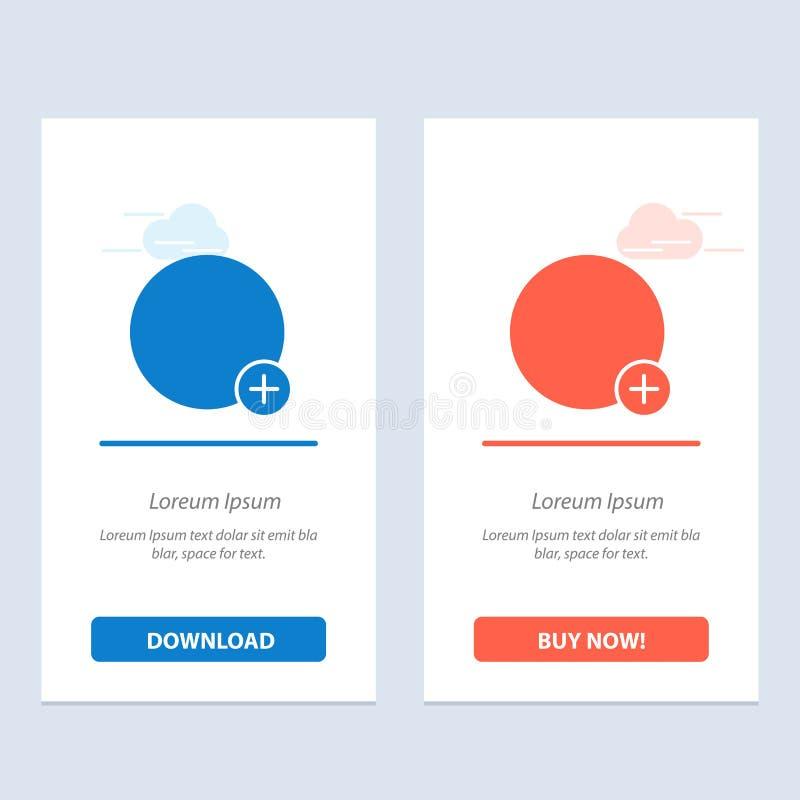 Basis, plus, kopen het Teken, de Blauwe en Rode Download van Ui en nu de Kaartmalplaatje van Webwidget vector illustratie