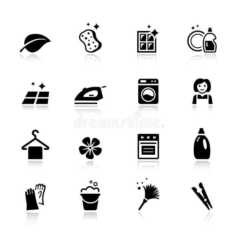 Basis - Schoonmakende Pictogrammen stock illustratie