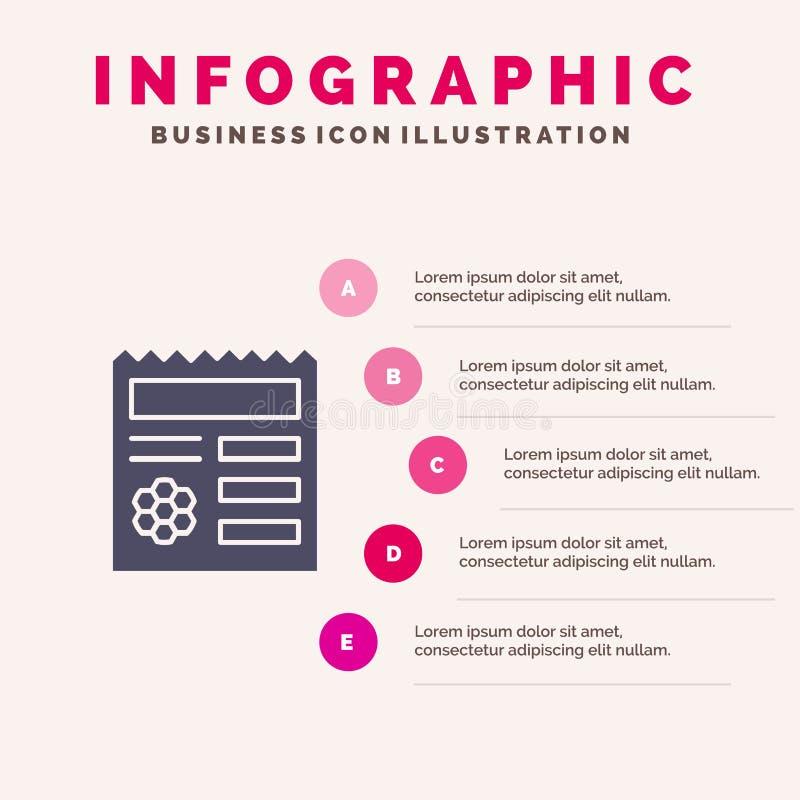 Basis, Ui, Manu, Document Stevig Pictogram Infographics 5 de Achtergrond van de Stappenpresentatie royalty-vrije illustratie