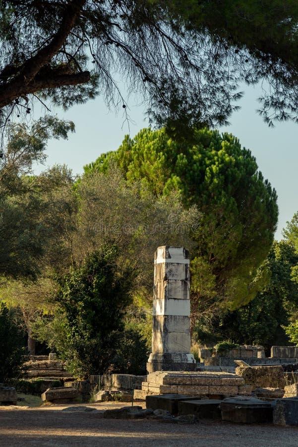 Basis van de Overwinning van Paeonios in Olympia, Griekenland stock afbeelding