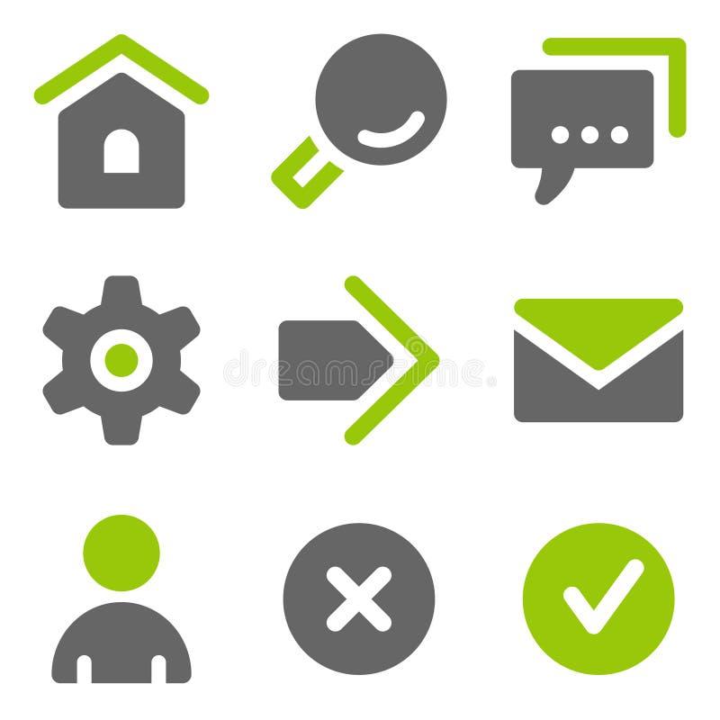Basis Webpictogrammen, groene grijze stevige pictogrammen stock illustratie