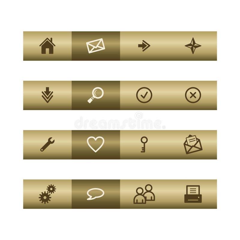 Basis Webpictogrammen op bronsstaaf vector illustratie