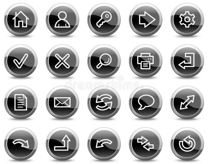 Basis Webpictogrammen, zwarte glanzende cirkelknopen vector illustratie