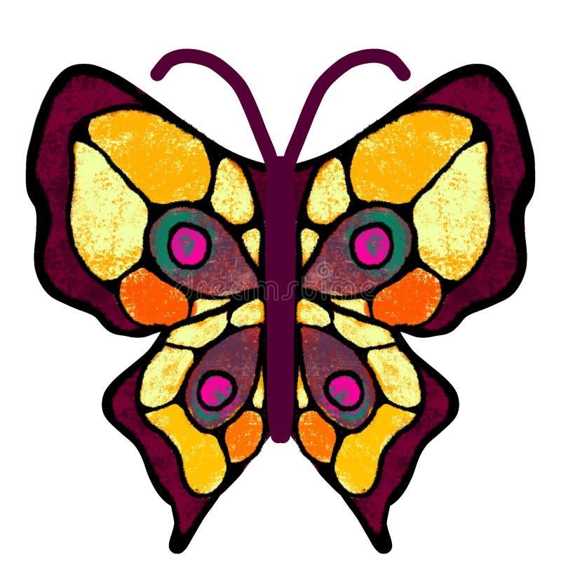 Basisrecheneinheit Der mehrfarbige, gemalte Schmetterling Insekten-Illustration lizenzfreie abbildung