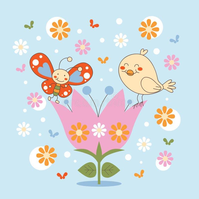 Basisrecheneinheit und Vogel in einer Blume lizenzfreie abbildung