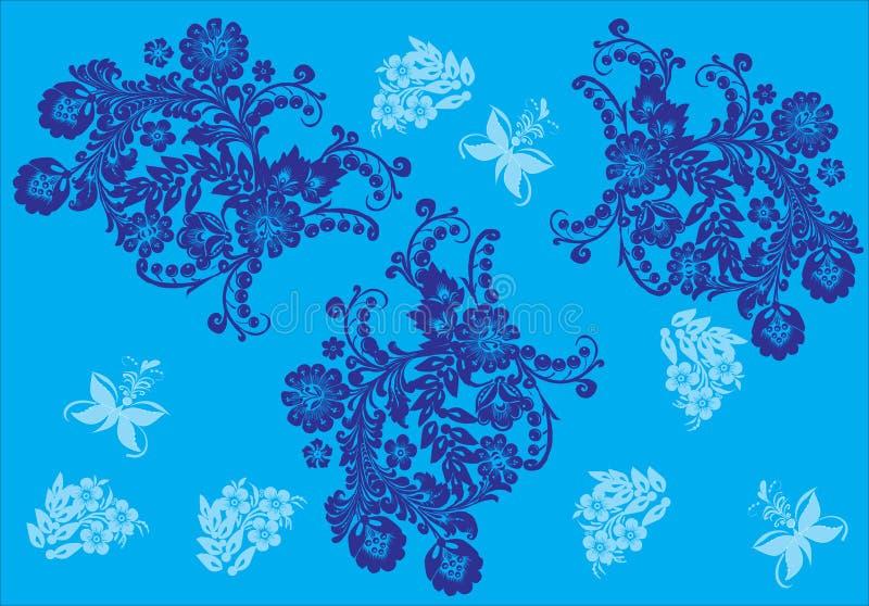 Basisrecheneinheiten und Blumen im Blau lizenzfreie abbildung