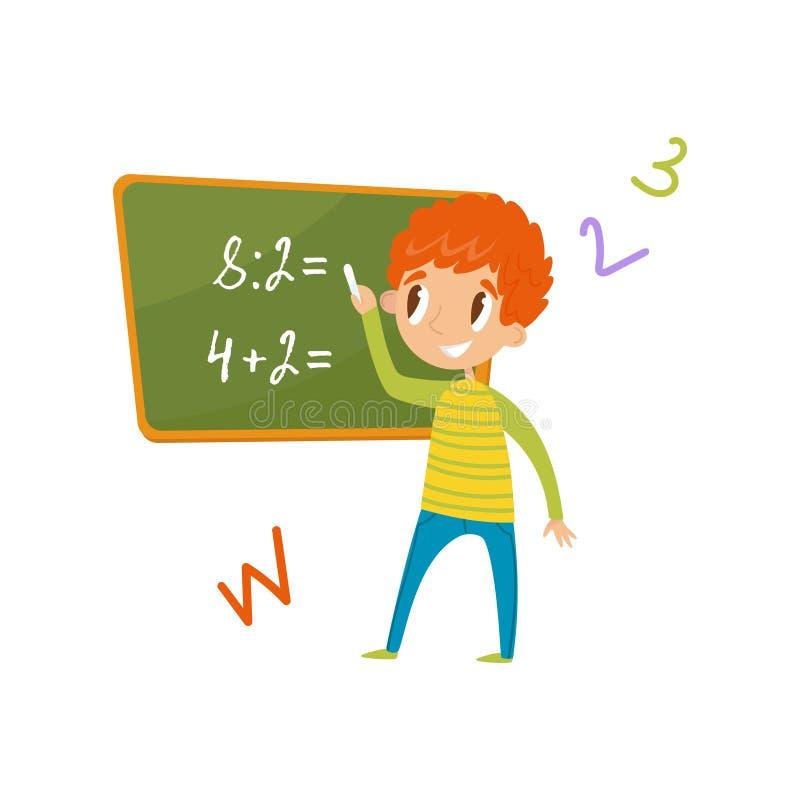 Basisschoolstudent die zich dichtbij de bord en het schrijven wiskundige voorbeelden, onderwijs en kennis bevinden royalty-vrije illustratie