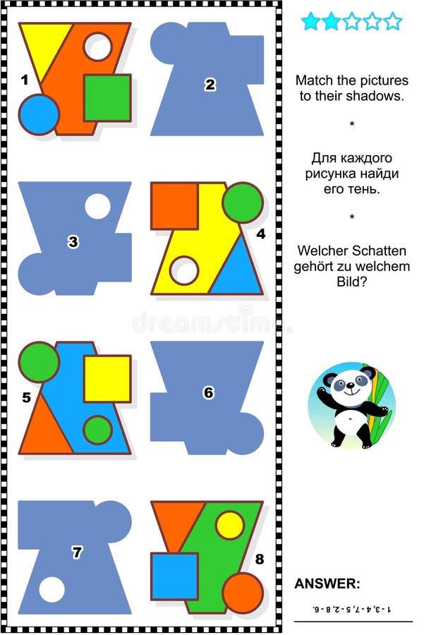 Basisvormen die wiskunde visueel raadsel leren vector illustratie