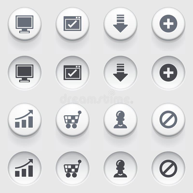 Basiswebpictogrammen op witte knopen. Reeks 2. stock illustratie