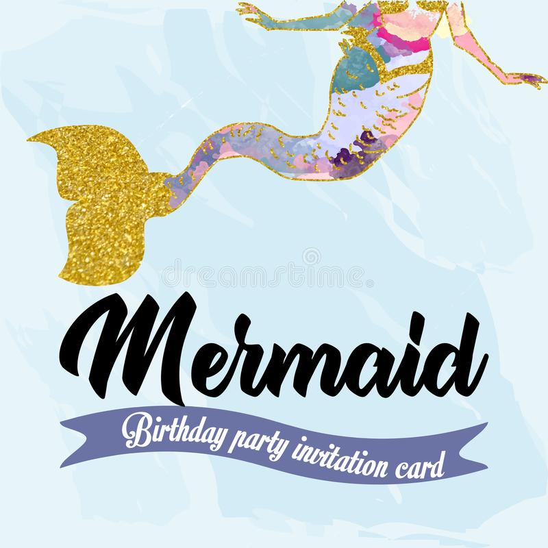Birthday party invitation card for little girl mermaid.Mermaid tail with gold glitter element. royalty free illustration