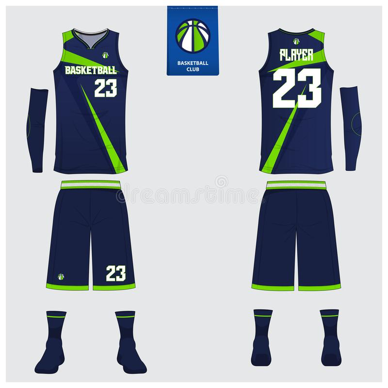 Basketärmlös tröja, kortslutningar, sockamall för basketklubba Likformig för framdel- och baksidasiktssport Ärmlös tröjat-skjorta stock illustrationer