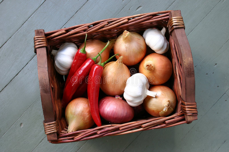 Download Basket stock photo. Image of onions, bulbs, cloves, chillies - 81848
