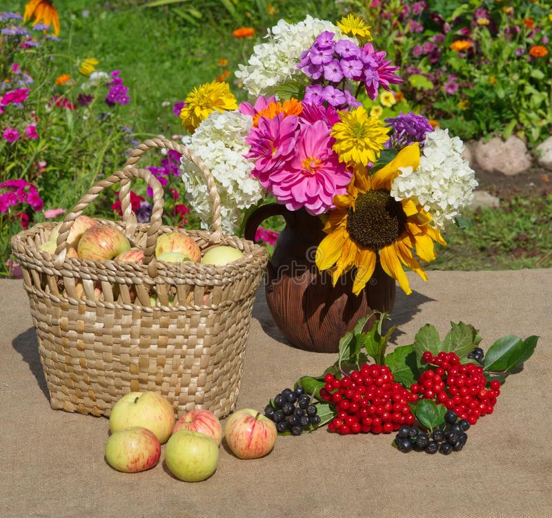 Basket with apples and a bouquet of flowers in a clay jug royalty free stock image