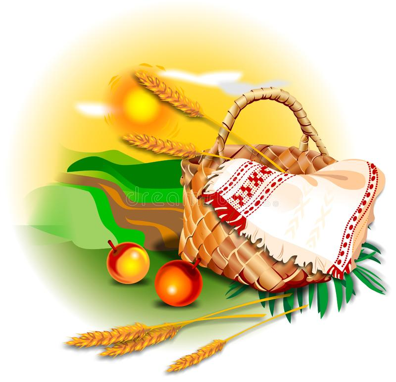 Basket, apples and wheat in the field stock photos