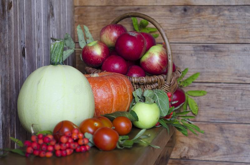 Basket with apples on a wooden background. harvesting autumn and summer harvest. vegetables and fruits pumpkin, zucchini, apple,. Rowan, pea, cherry. soft focus stock image