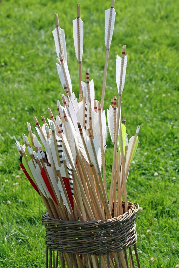 Basket of arrows stock photography