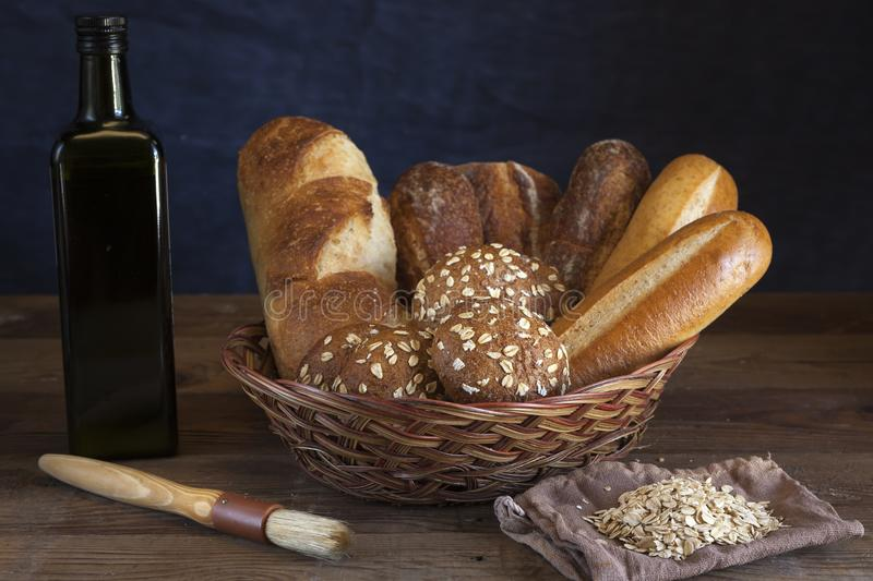 Basket of assorted breads. royalty free stock images