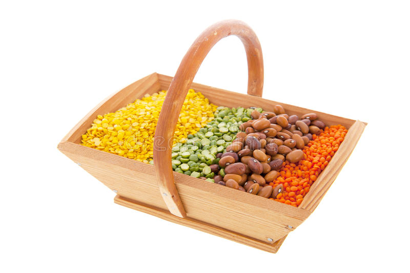 Basket with assortment legumes royalty free stock photos