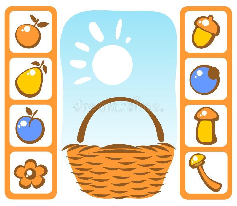 Basket And Autumn Set Royalty Free Stock Photos