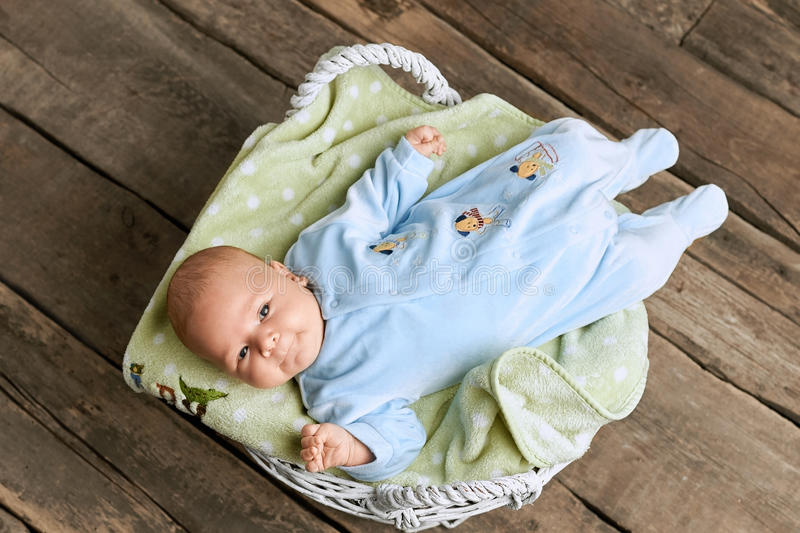 Basket with baby, top view. stock images