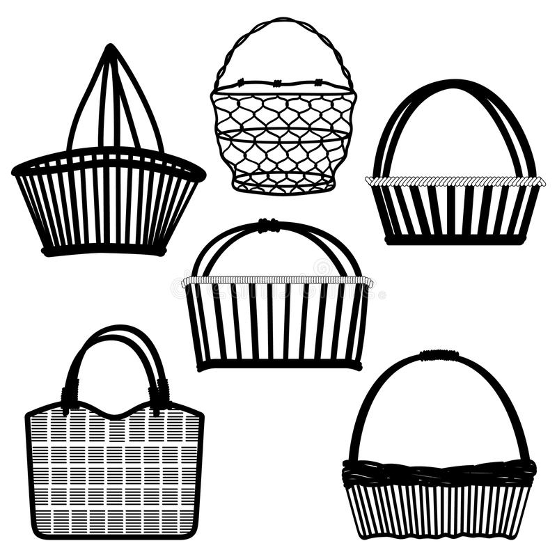 Download Basket Bag Container Wired Wooden Stock Vector - Image: 22355168