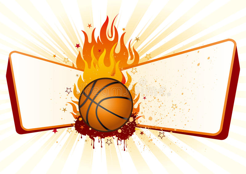Basket-ball avec des flammes illustration stock