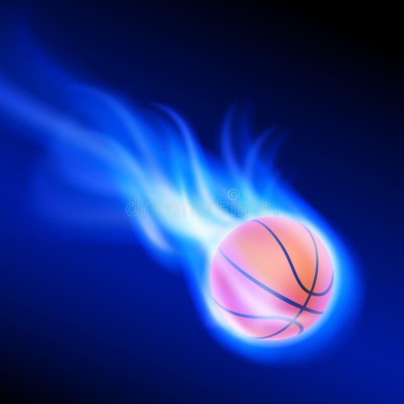 Basket-ball brûlant sur le feu bleu illustration de vecteur