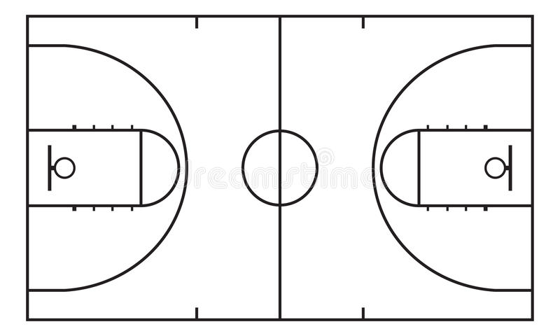 Basket-ball court Fond pour la stratégie de sport Élément d'Infographic illustration libre de droits