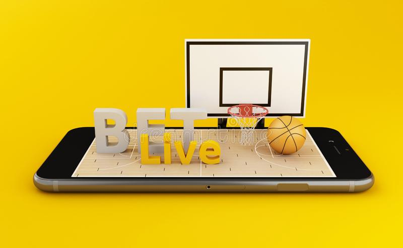 basket-ball 3d de observation et pari du concept en ligne illustration libre de droits
