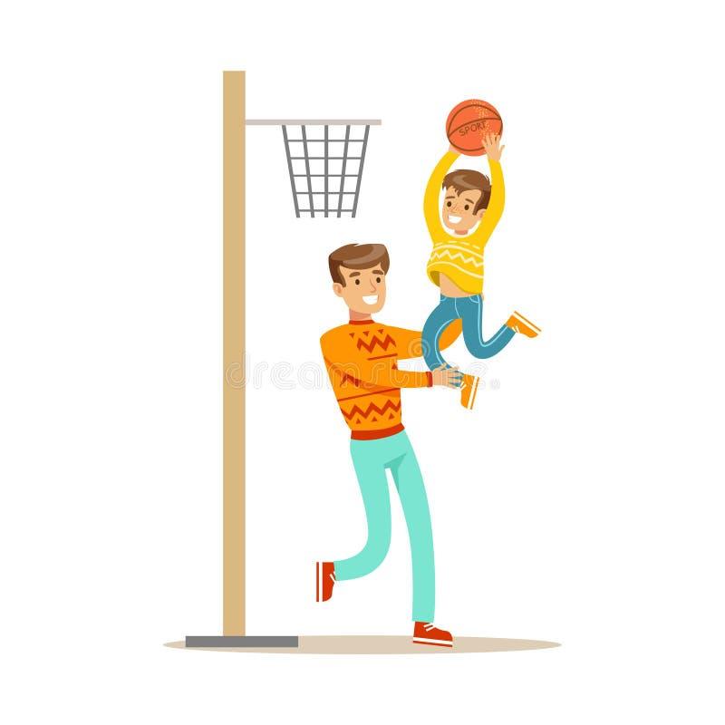 Basket-ball d'And Son Playing de père, famille heureuse ayant la bonne illustration de temps ensemble illustration libre de droits
