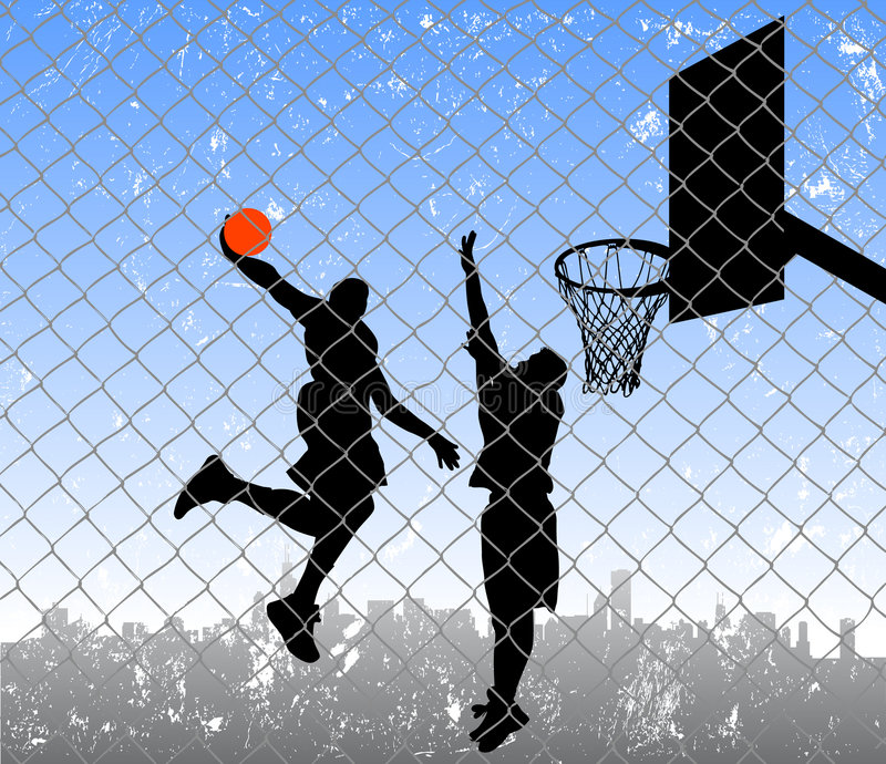 Basket-ball dans la rue illustration de vecteur