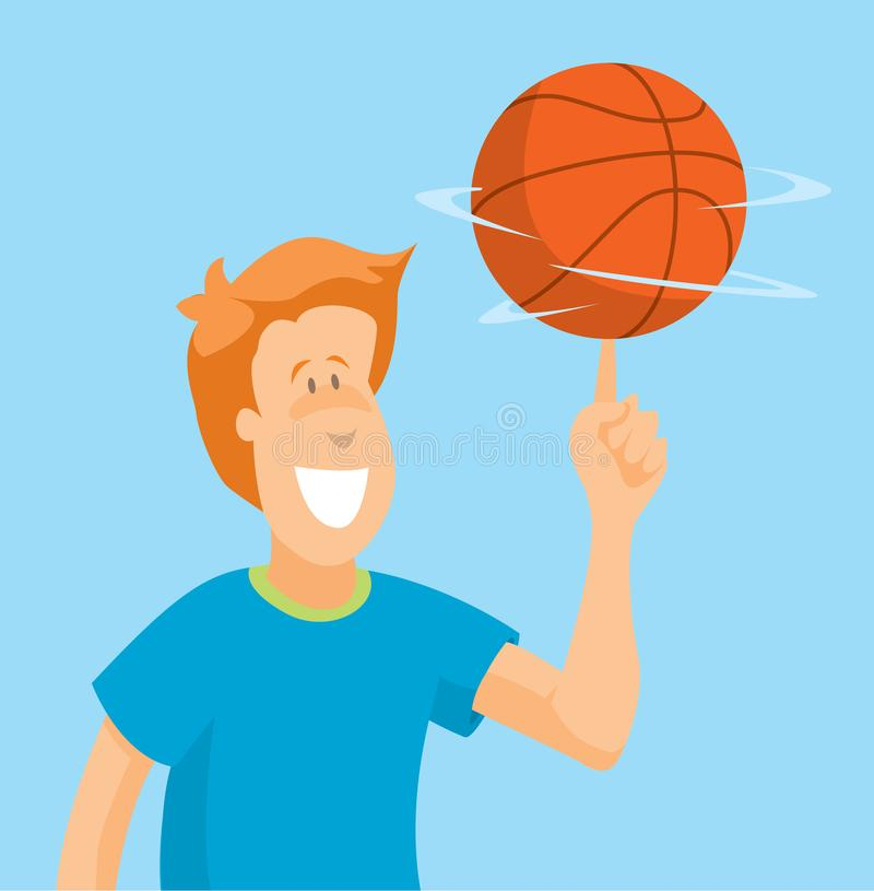 Basket-ball de rotation d'homme sur son doigt illustration stock