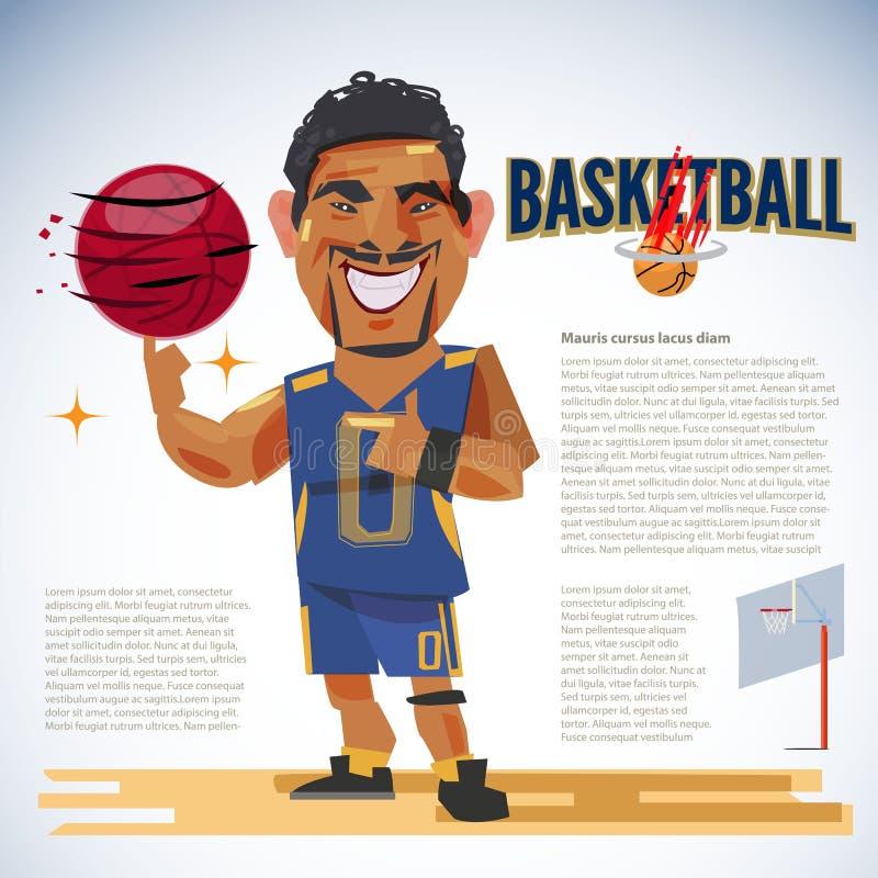 Basket-ball de rotation de joueur de basket sur l'index avec le typog illustration de vecteur